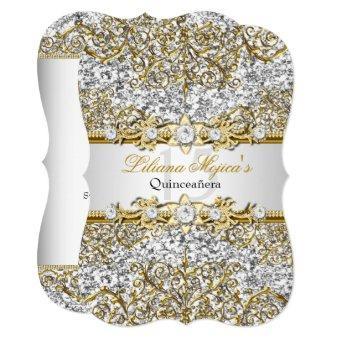 Glitter Gold Damask Invite