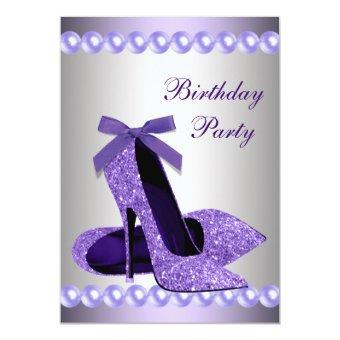 Glitter Pearls Purple High Heels Shoes Birthday