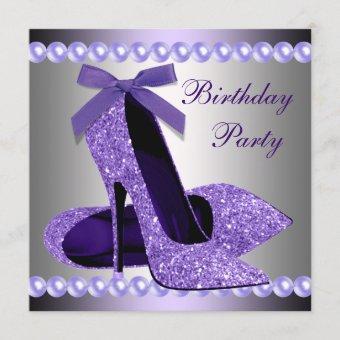 Glitter Pearls Purple High Heels Shoes Birthday