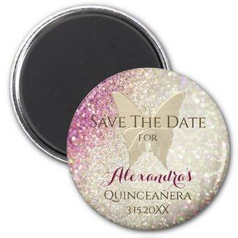 Glitter Pink and Gold Save The Date Magnet
