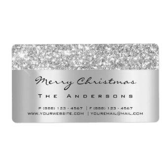 Glitter Silver Gre Gray Bridal Holidays Christmas Label