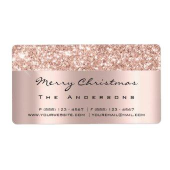 Glitter Spark Rose Gold Bridal Holidays Christmas Label