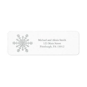 Glittery Sparkle Silver Snowflake for Christmas Label