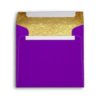Gold and Amethyst Purple Glitter Look Envelope