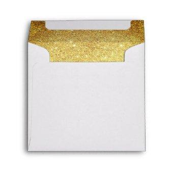 Gold and Diamond White Glitter Look Envelope