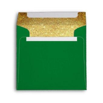 Gold and Emerald Green Glitter Look Envelope