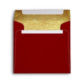 Gold and Garnet Maroon Glitter Look Envelope