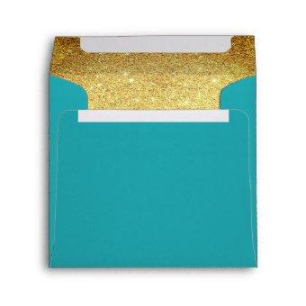 Gold and Turquoise Aqua Glitter Look Envelope