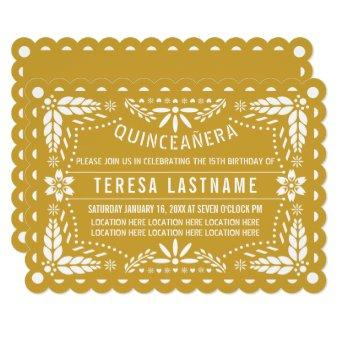 Gold and white papel picado Quinceañera