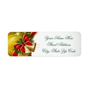 Gold Bells Merry Christmas Label