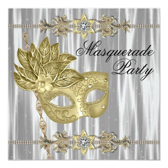 Gold Black White Masquerade Party