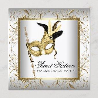 Gold Black White Sweet Sixteen Masquerade Party