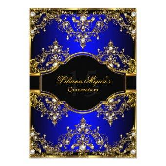 Gold Blue Pearl Vintage Glamour