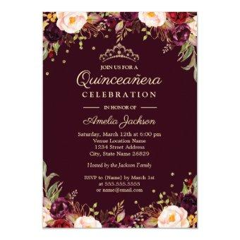Gold Burgundy Elegant Floral Quinceanera Invitation