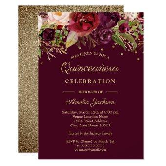 Gold Burgundy Floral Watercolor Invite