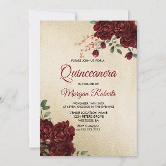 Gold Burgundy Red Rose Floral Invite