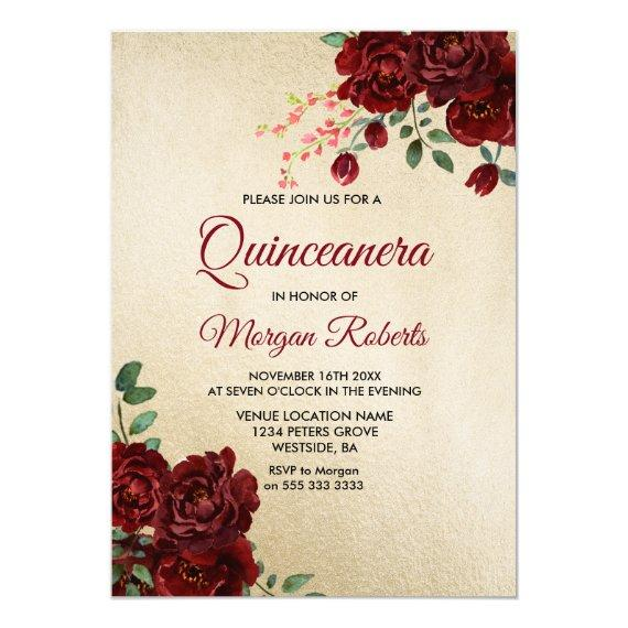 Gold Burgundy Red Rose Floral Invite