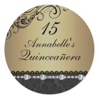 Gold Diamond & Damask Sticker