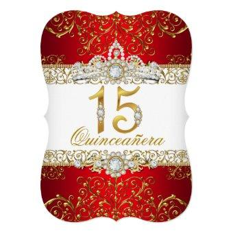 Gold Diamond Red Glamour Quinceanera Invitations