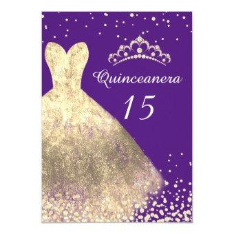 Gold Dress Purple 15th Birthday Party