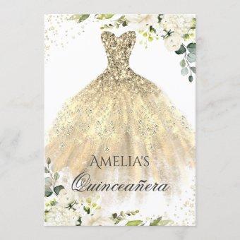 Gold Dress Sparkle Floral
