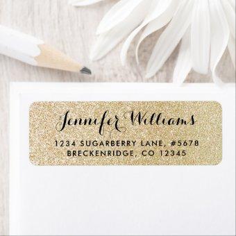 Gold Faux Glitter Look Return Address Label