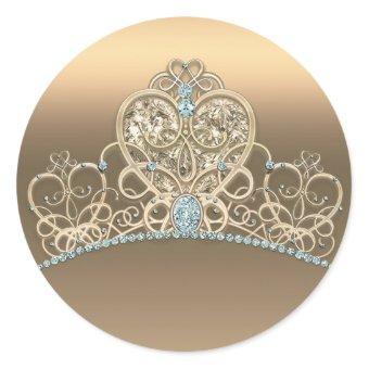 Gold Glam Princess Heart Tiara Birthday Party Classic Round Sticker