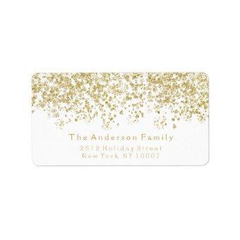 Gold glitter address label
