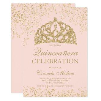 gold glitter blush crown tiara Quinceañera
