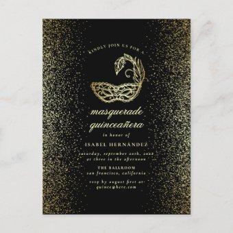 Gold Glitter Confetti Masquerade Quinceañera Post