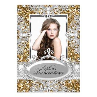 Gold Glitter & Diamond Glamour Invite