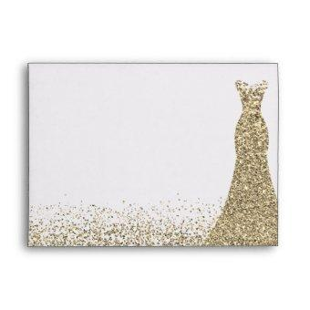 Gold Glitter Dress All Events Birthday Bridal Envelope