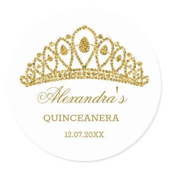 Gold glitter effect tiara Classic Round Sticker
