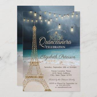 Gold Glitter Eiffel Tower,Tiara Beach Quinceañera