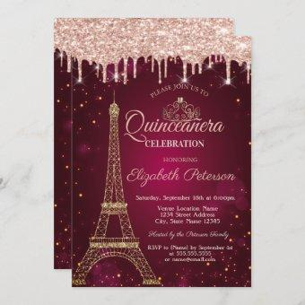 Gold Glitter Eiffel Tower Tiara Drips Quinceañera