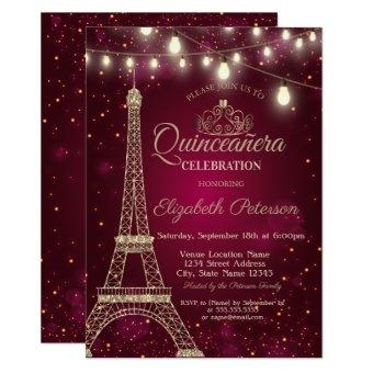 Gold Glitter Eiffel Tower,Tiara Red Quinceañera
