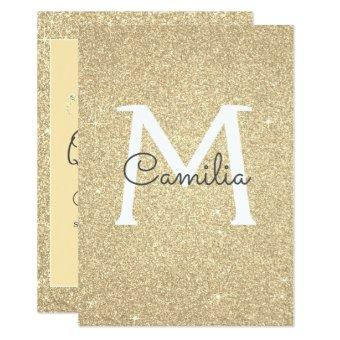 Gold Glitter Monogram Sparkle