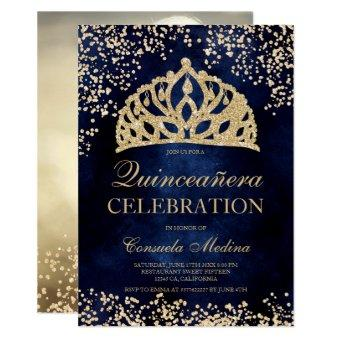 gold glitter navy blue photo tiara Quinceañera