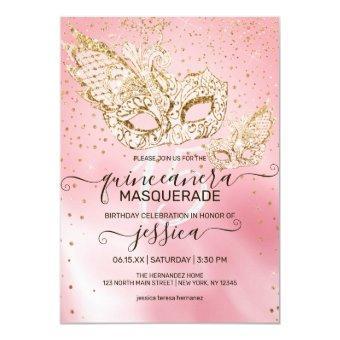 Gold Glitter Pink Silk Masquerade Quinceañera