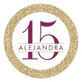 Gold Glitter Quince Años Favor Sticker Label