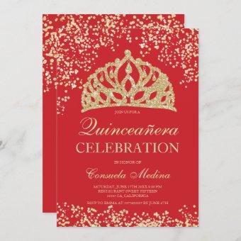 gold glitter red crown tiara Quinceañera