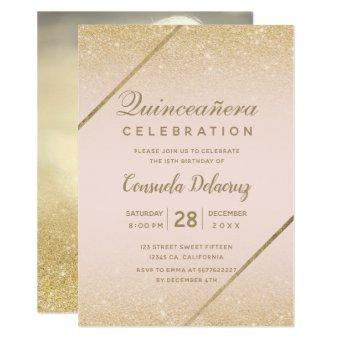 Gold glitter script blush pink photo