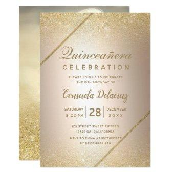 Gold glitter script metallic photo