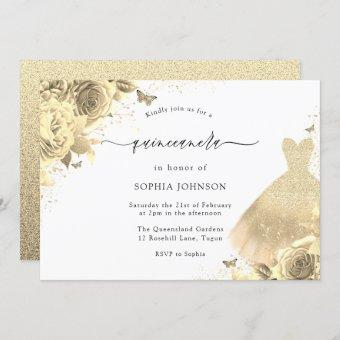 Gold Glitter Sparkle Dress Floral 15th