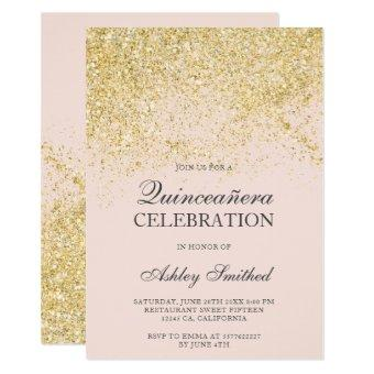 Gold glitter sparkles blush chic Quinceañera