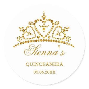 Gold glitter tiara in a heart shape Classic Round Sticker
