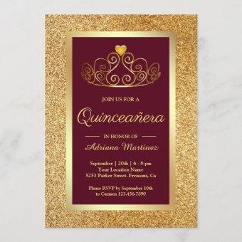 Gold Glitter Tiara Princess Burgundy
