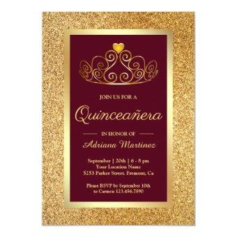 Gold Glitter Tiara Princess Burgundy