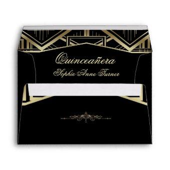 Gold Great Gatsby Art Deco Style Quinceañera Envelope