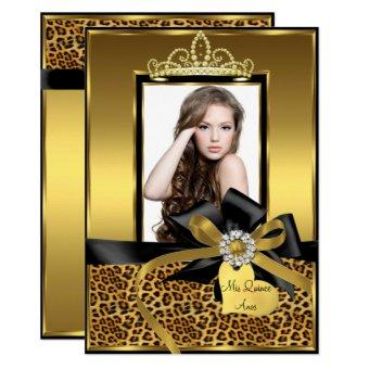 Gold Leopard Print Bow Photo Invite